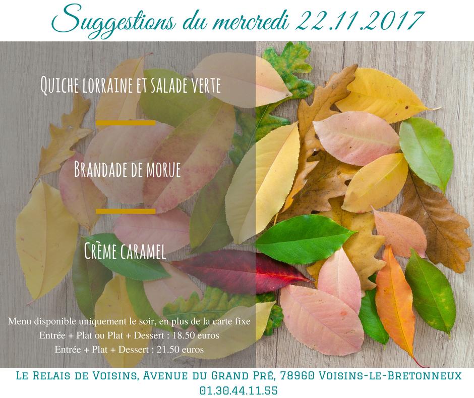Suggestions du Relais de Voisins : mercredi 22 novembre 2017