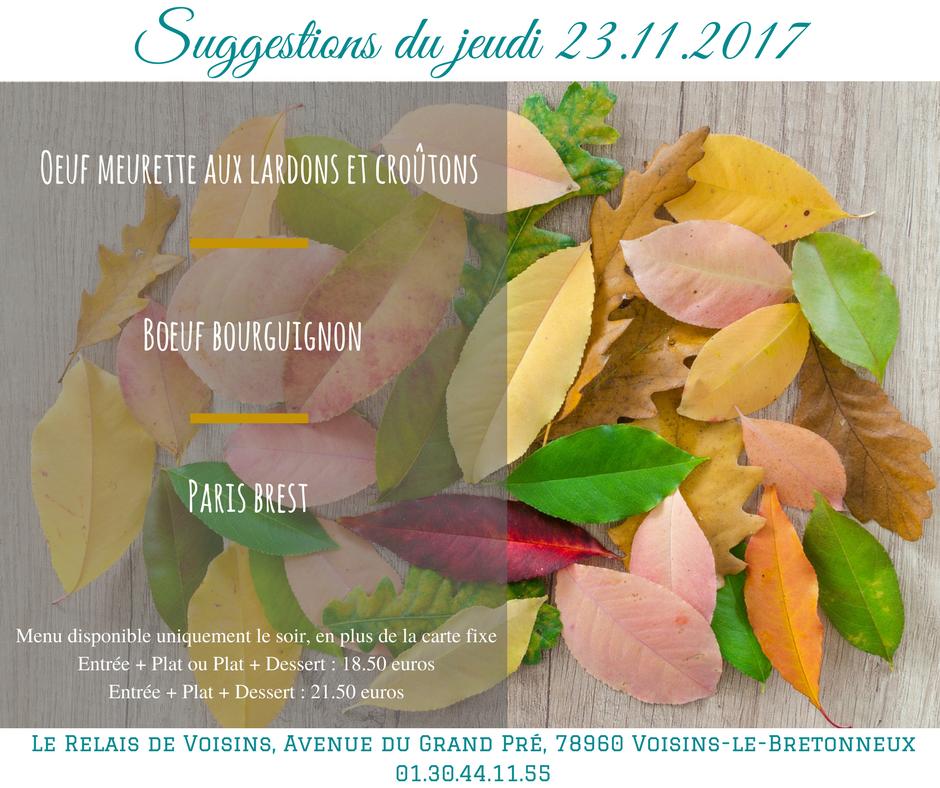 Suggestions du Relais de Voisins : jeudi 23 novembre 2017