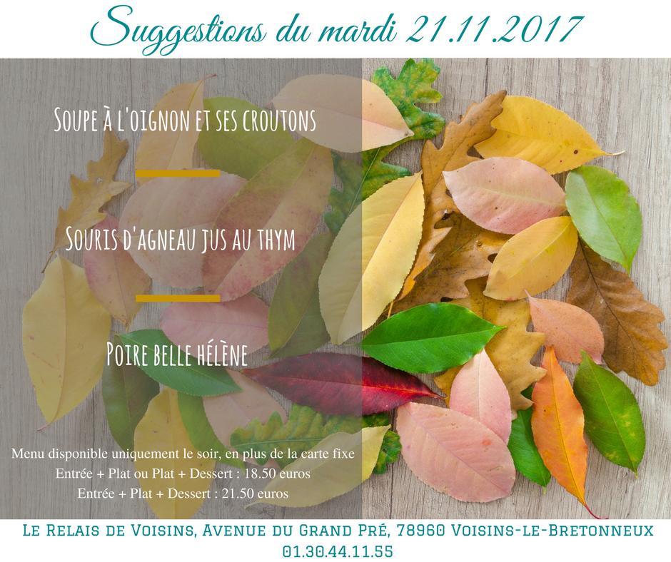 Suggestions du Relais de Voisins : mardi 21 novembre 2017