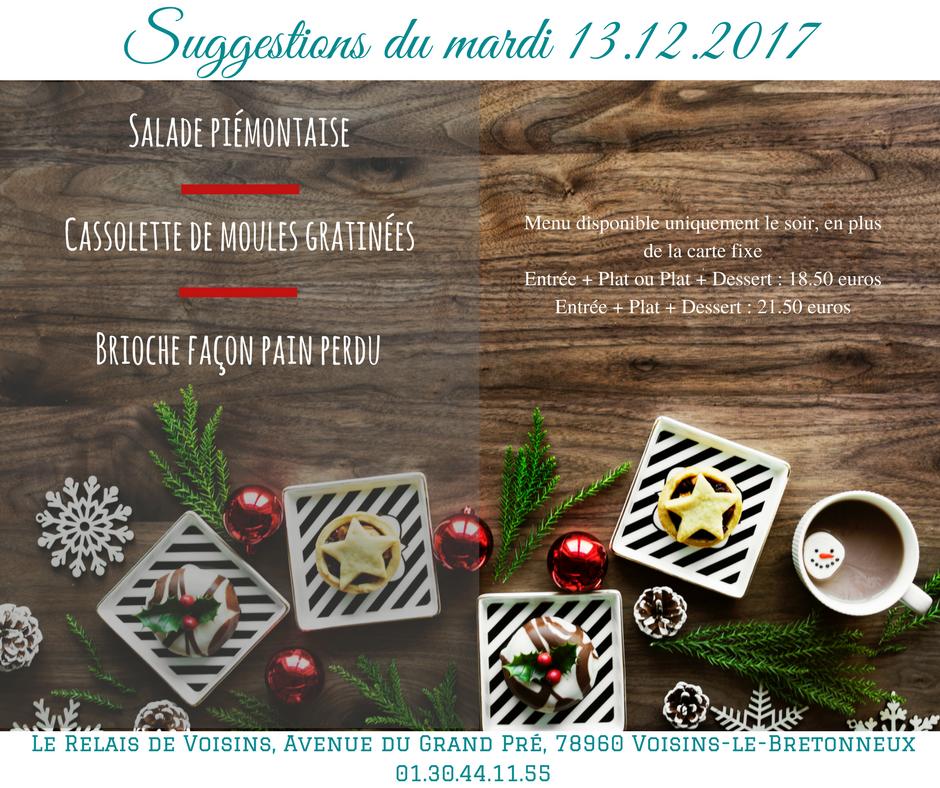 Suggestions du Relais de Voisins : mercredi 13 décembre 2017