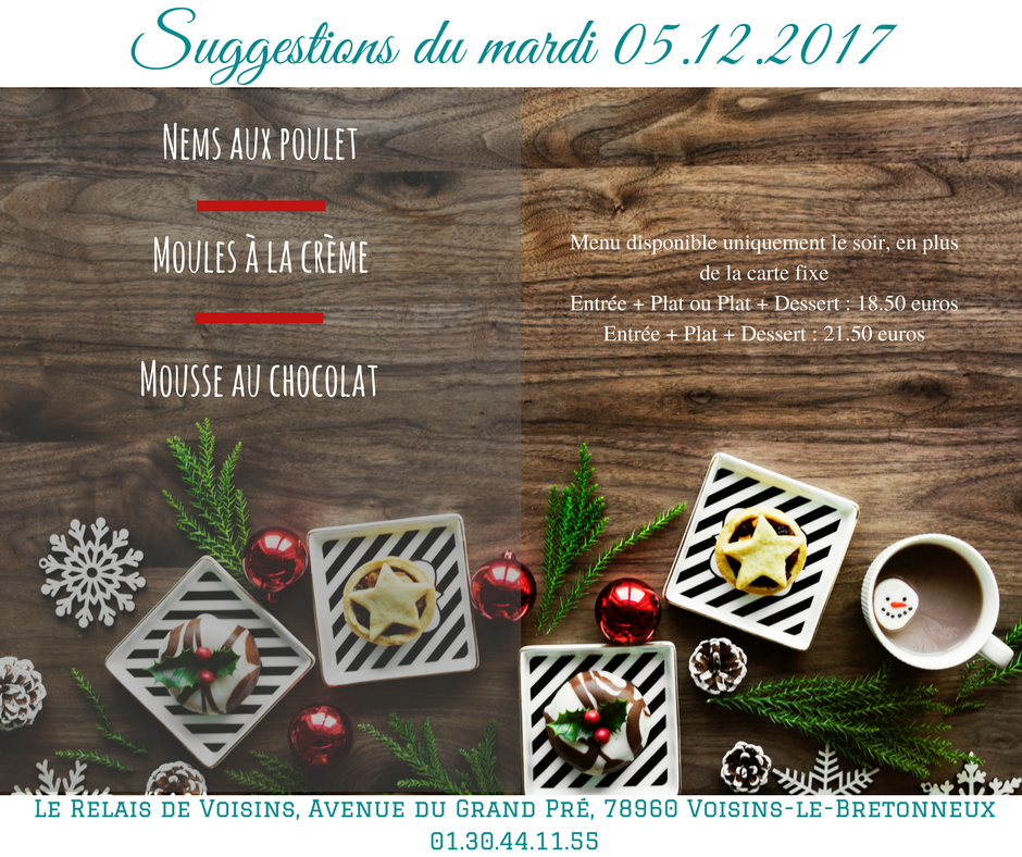 Suggestions du Relais de Voisins : mardi 5 décembre 2017
