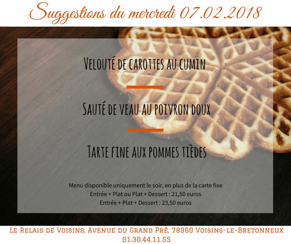 Suggestions du Relais de Voisins : mercredi 07 février 2018