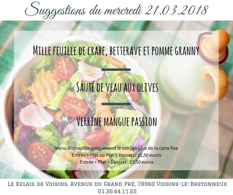 Suggestions du Relais de Voisins : mercredi 21 mars 2018