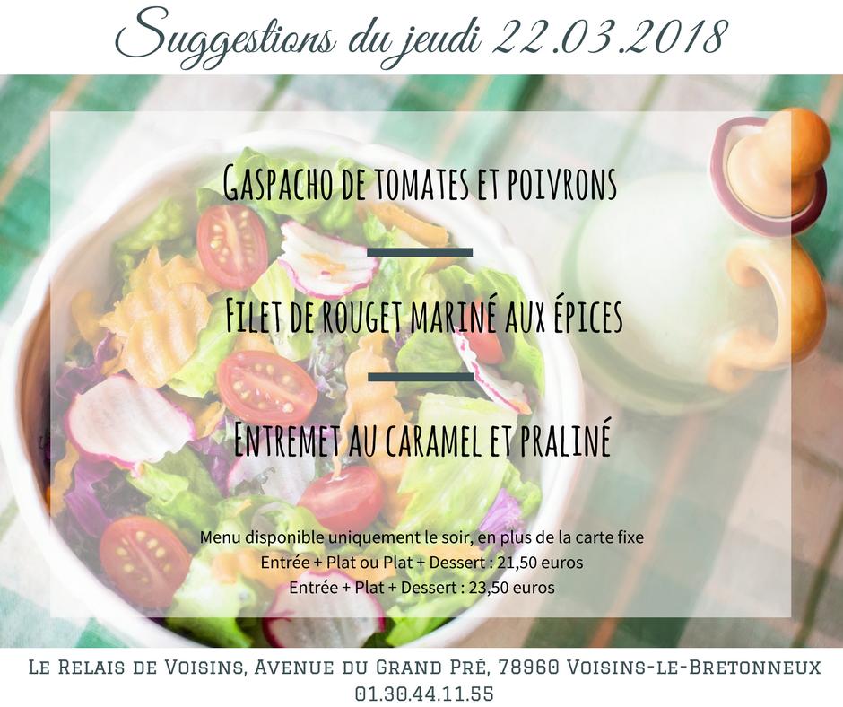 Suggestions du Relais de Voisins : jeudi 22 mars 2018