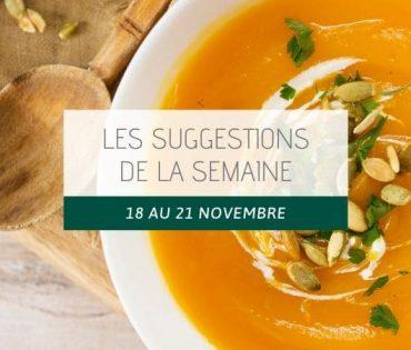 Les suggestions du 18 au 21 novembre