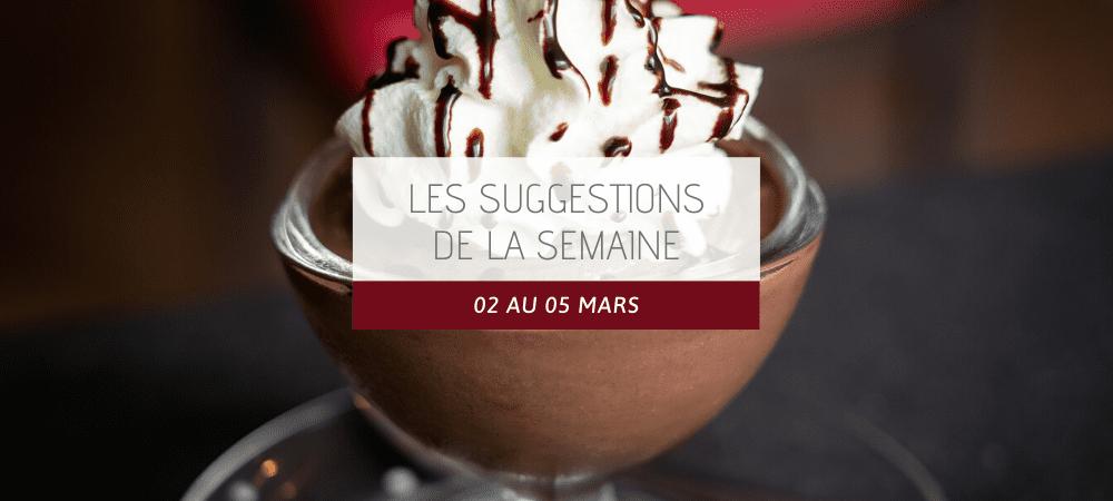 Suggestions restaurant 02 au 05 mars 2020
